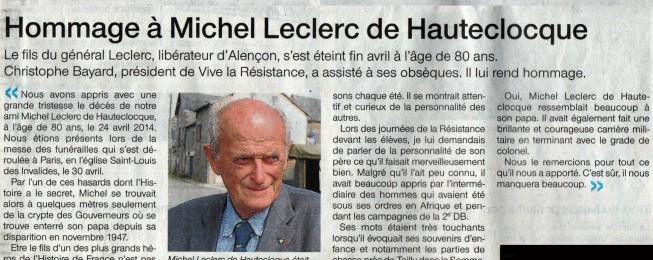 Hommage à Michel Leclerc de Hautecloque dans Ouest-France