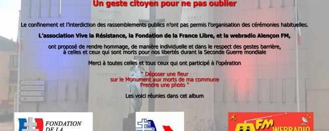 Album 8 mai 2020 <br /> Une fleur pour nos monuments aux morts